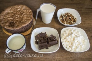 Шоколадный торт с орехами и маршмеллоу: Ингредиенты