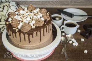 Шоколадный торт с орехами и маршмеллоу: фото к шагу 9.