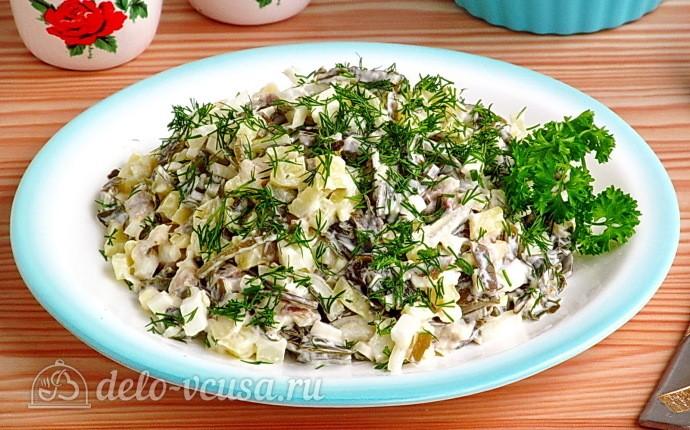 Рецепт картофельный салат с морской капустой и сельдью