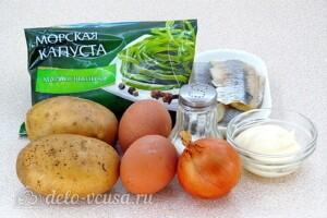 Картофельный салат с морской капустой и сельдью: Ингредиенты