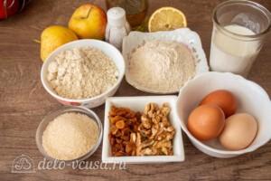 Шарлотка из овсяной муки на кефире: Ингредиенты