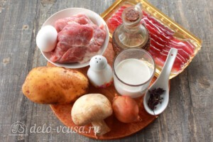 Картофельная бабка с мясом и грибами: Ингредиенты