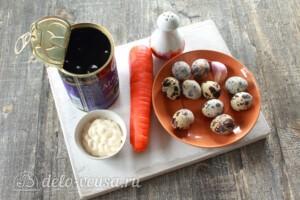 """Канапе """"Пингвины"""" из маслин: Ингредиенты"""
