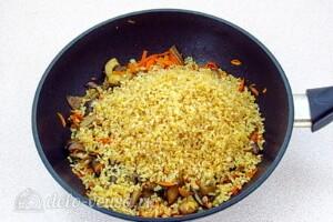 Булгур с овощами и вешенками: фото к шагу 7.