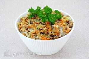 Салат из телячьей печени с овощами: фото к шагу 9.
