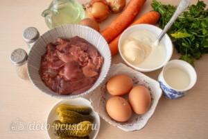 Блинный салат с куриной печенью: Ингредиенты