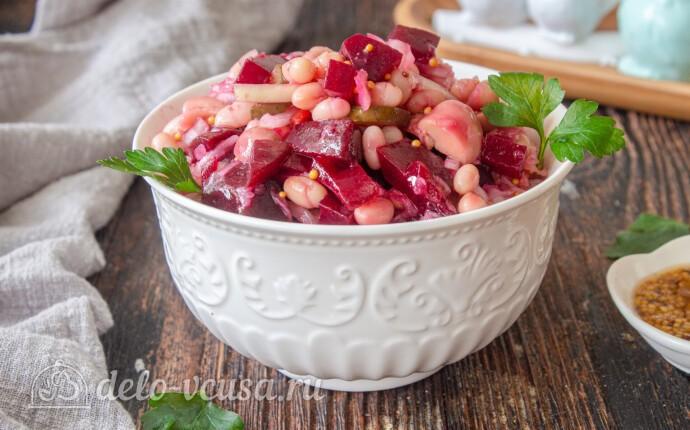 Зимний салат с фасолью и свеклой