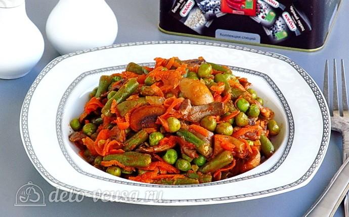 Рецепт стручковая фасоль с грибами в томатном соусе