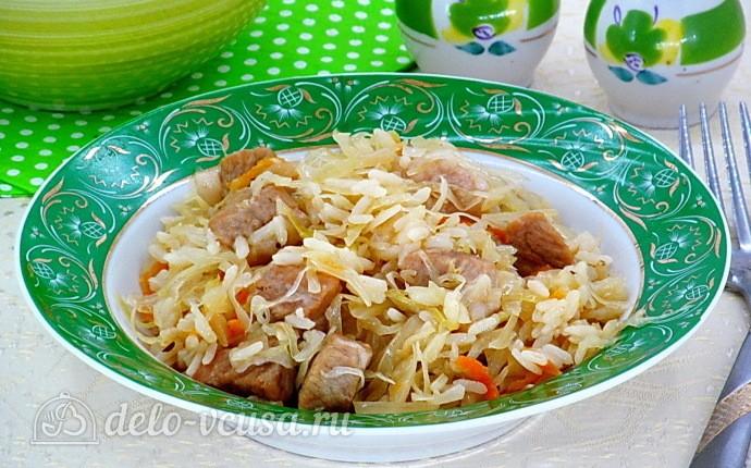 Свинина с квашеной капустой и рисом в мультиварке: фото блюда приготовленного по данному рецепту