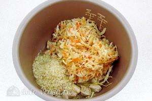 Добавить капусту и рис