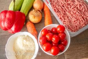Тефтели с пармезаном и печёными овощами: Ингредиенты