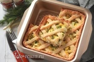 Творожный пирог с яйцом и зеленью: фото к шагу 11.