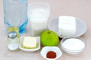 Блины на минеральной воде с творогом и яблоками: Ингредиенты
