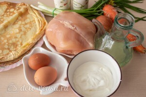Блины на кефире с курицей и яйцом: Ингредиенты