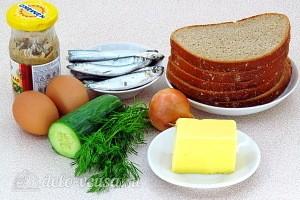 Бутерброды с килькой, яйцом и огурцом: Ингредиенты
