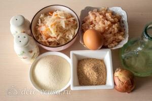 Куриные котлеты с квашеной капустой на сковороде: Ингредиенты