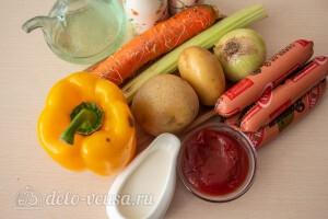 Овощное рагу с сосисками и картошкой: Ингредиенты
