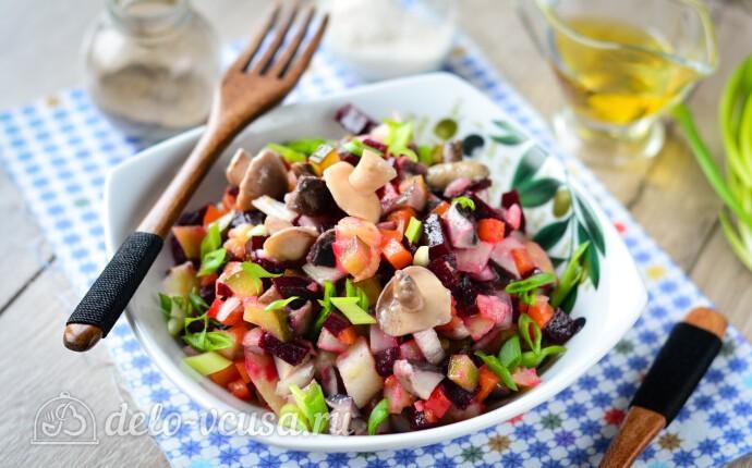 Винегрет с маринованными грибами: фото блюда приготовленного по данному рецепту