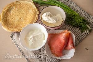 Блинные рулетики с семгой и сливочным сыром: Ингредиенты