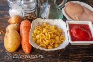 Быстрое жаркое с курицей и макаронами: Ингредиенты