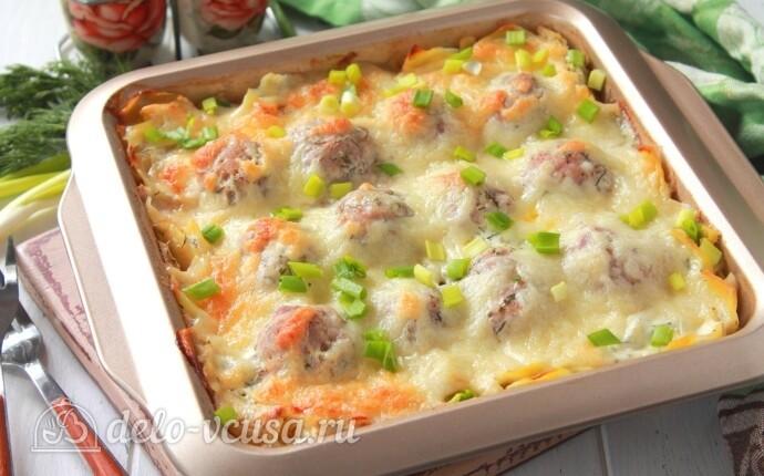 Рецепт картофельная запеканка с фрикадельками и моцареллой