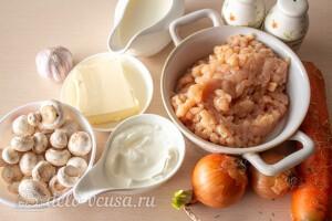 Куриные тефтели в сливочно-грибном соусе: Ингредиенты