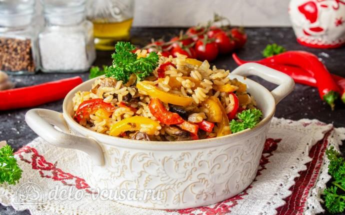 Ленивая паэлья с овощами и грибами