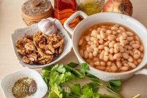 Лобио по-грузински из консервированной белой фасоли: Ингредиенты