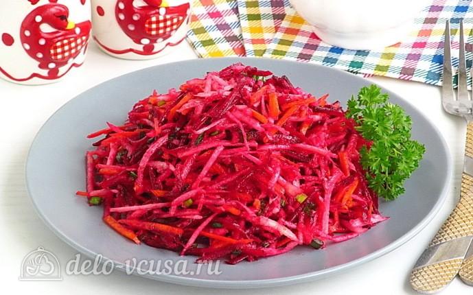 """Постный салат """"Витаминный"""" из свеклы и черной редьки"""