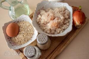 Рыбные котлеты из минтая с овсяными хлопьями: Ингредиенты