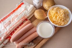 Сосиски с картошкой в лаваше на сковороде: Ингредиенты