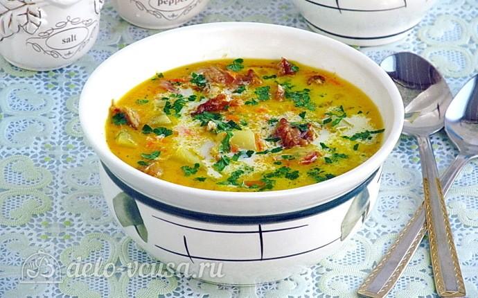 Сырный суп с копчёными рёбрышками
