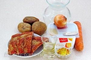 Сырный суп с копчёными рёбрышками: Ингредиенты