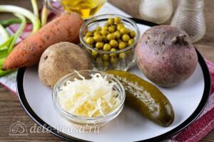 Винегрет с горошком и квашеной капустой: Ингредиенты