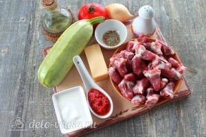 Фаршированные кабачки с куриными сердечками: Ингредиенты