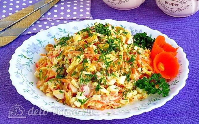Рецепт крабовый салат «весенняя мозаика»
