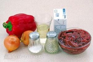 Куриная печень с болгарским перцем в сливочном соусе: Ингредиенты