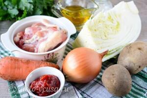 Легкий куриный суп с пекинской капустой и томатной пастой: Ингредиенты