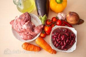 Овощное рагу с говядиной, баклажанами и фасолью: Ингредиенты