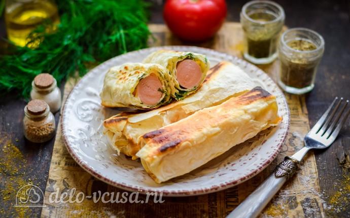 Сосиска с сыром в лаваше за 15 минут