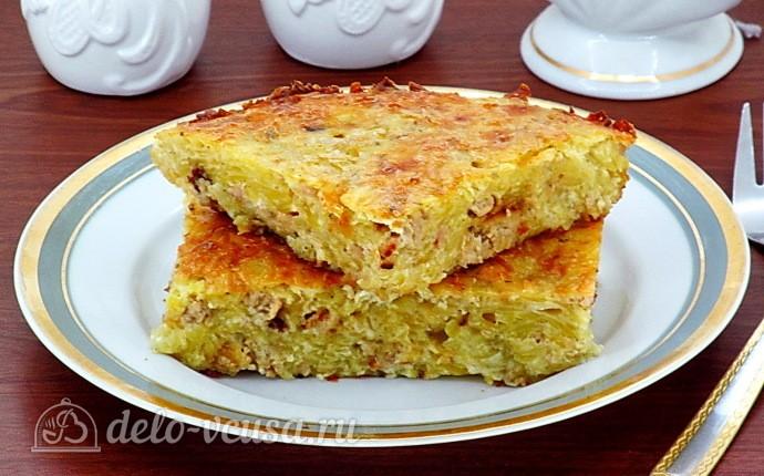 Рецепт сытная запеканка из тертого картофеля с фаршем