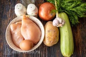 """Куриные котлеты """"Антикризисные"""" с кабачком и картошкой: Ингредиенты"""