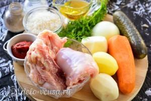 Рассольник с курицей и рисом: Ингредиенты