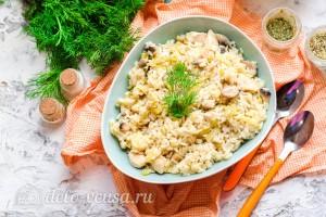 Рис с капустой, шампиньонами и куриным филе готов