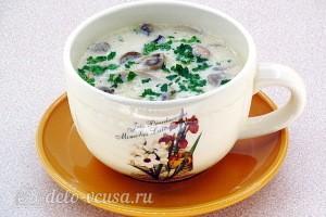 Рисовый суп с шампиньонами и плавленым сыром готов
