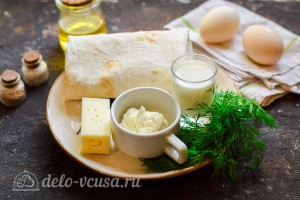 Рулет из лаваша с сыром и омлетом: Ингредиенты