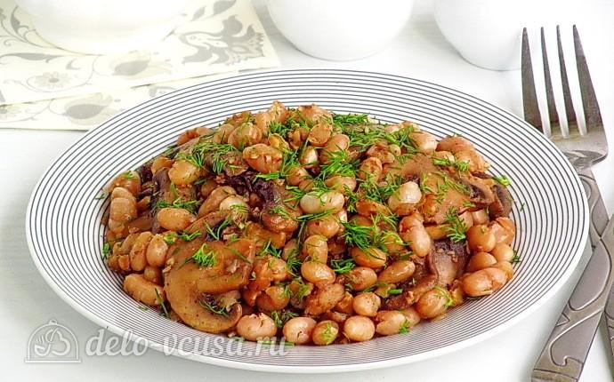 Тушеная фасоль с грибами и грецкими орехами