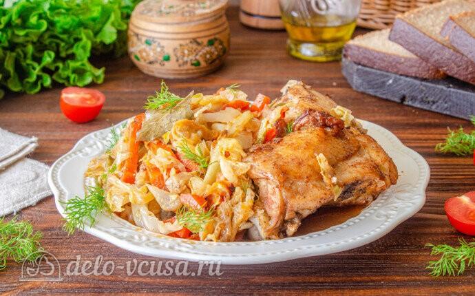 Запеченная курица с капустой в рукаве