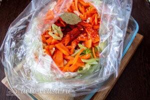 Кладем в рукав капусту, морковь и специи