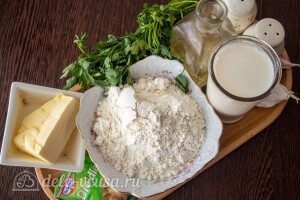 Отрывной пирог с чесноком и зеленью: Ингредиенты